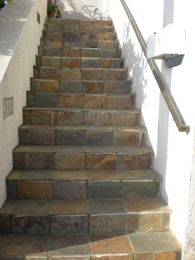 Stairs before applying a fiber- glass and resin compound