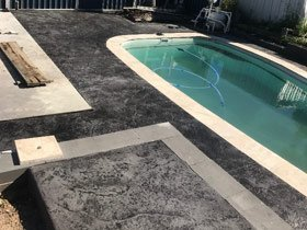 pool area with new concrete