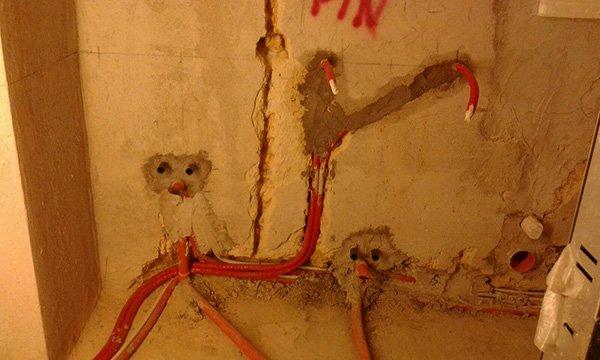 Parete dove i cavi devono essere installati