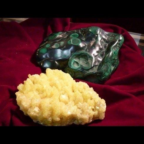 pietra zolfo e malachite