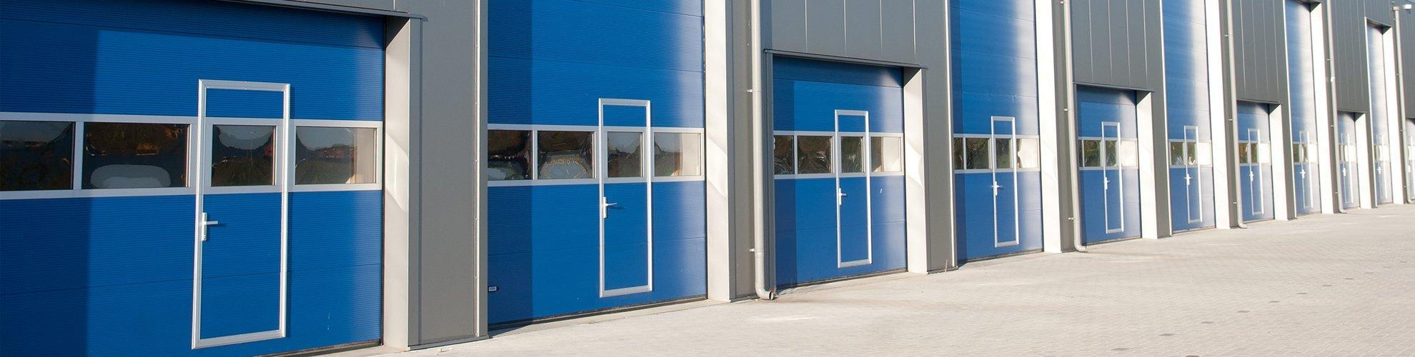 blue commercial doors