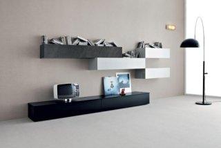arredamento semplice, design moderno, mobili sospesi