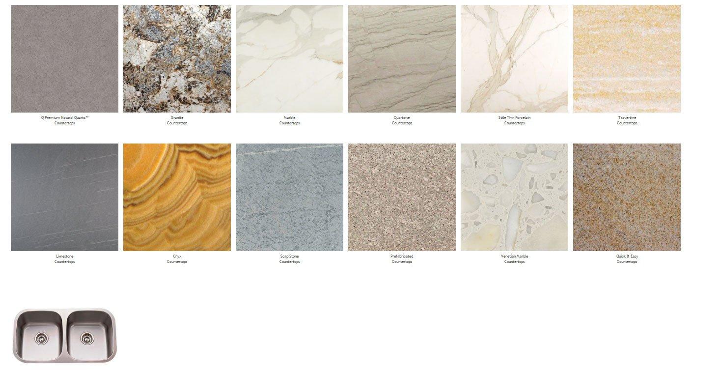 Various countertops samples