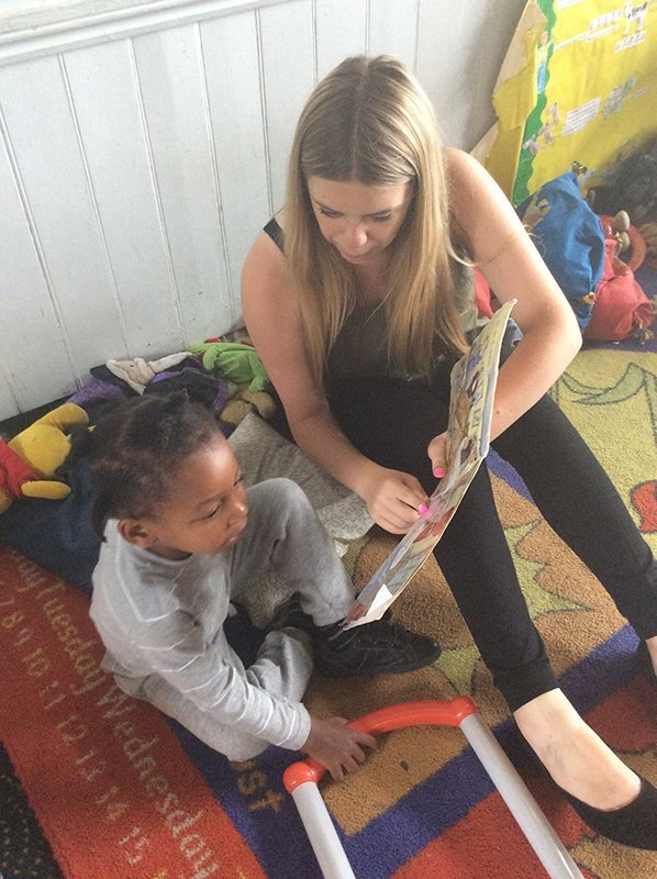 nurse teaching a kid