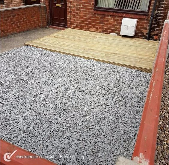 Gravel and patio