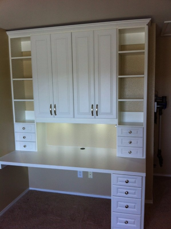 traditional home office with drawers and crown molding