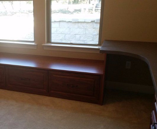 under window seat with drawer and corner desk unit