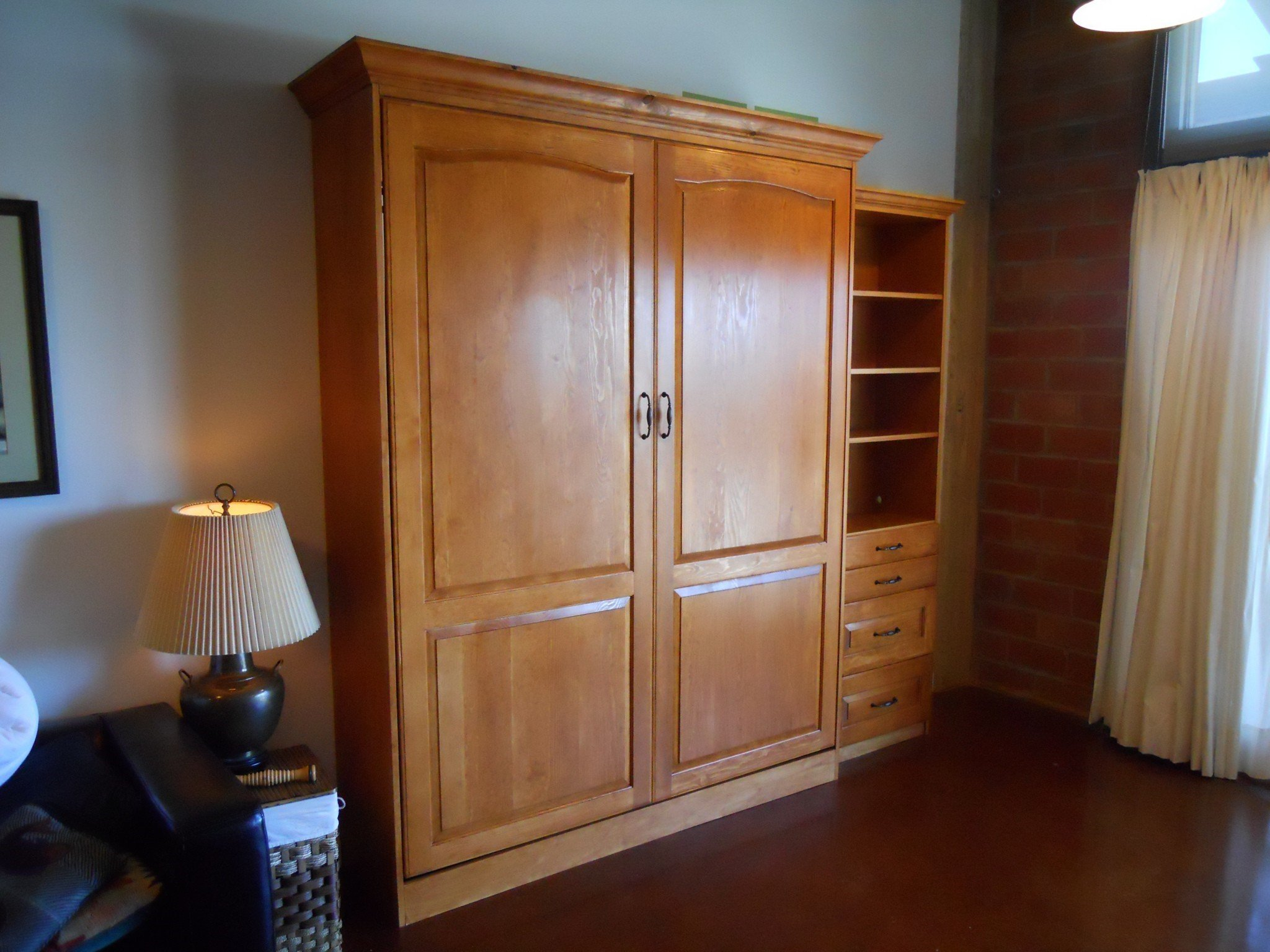 Pine Stain Grade Wall Bed with crown molding