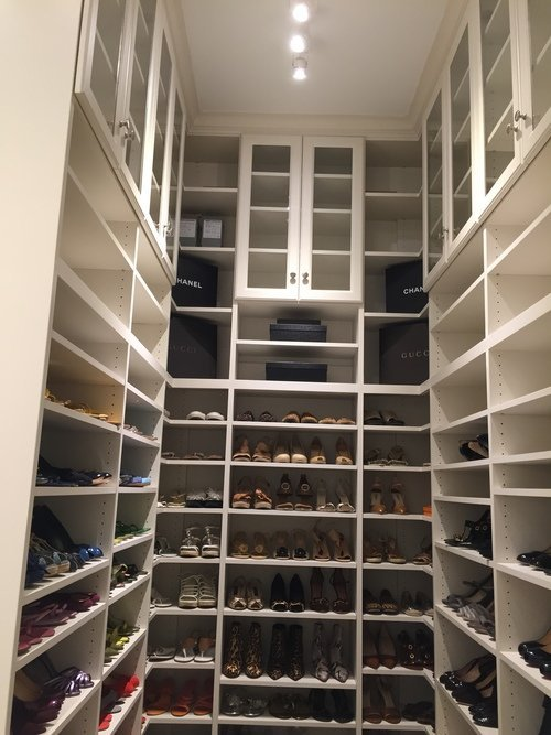 floor-to-ceiling-closet with adjustable shoe shelving