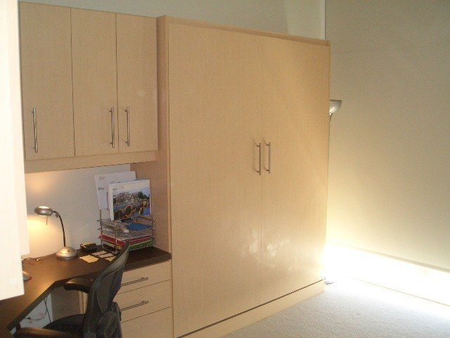 euro flat maple murphy bed with home office