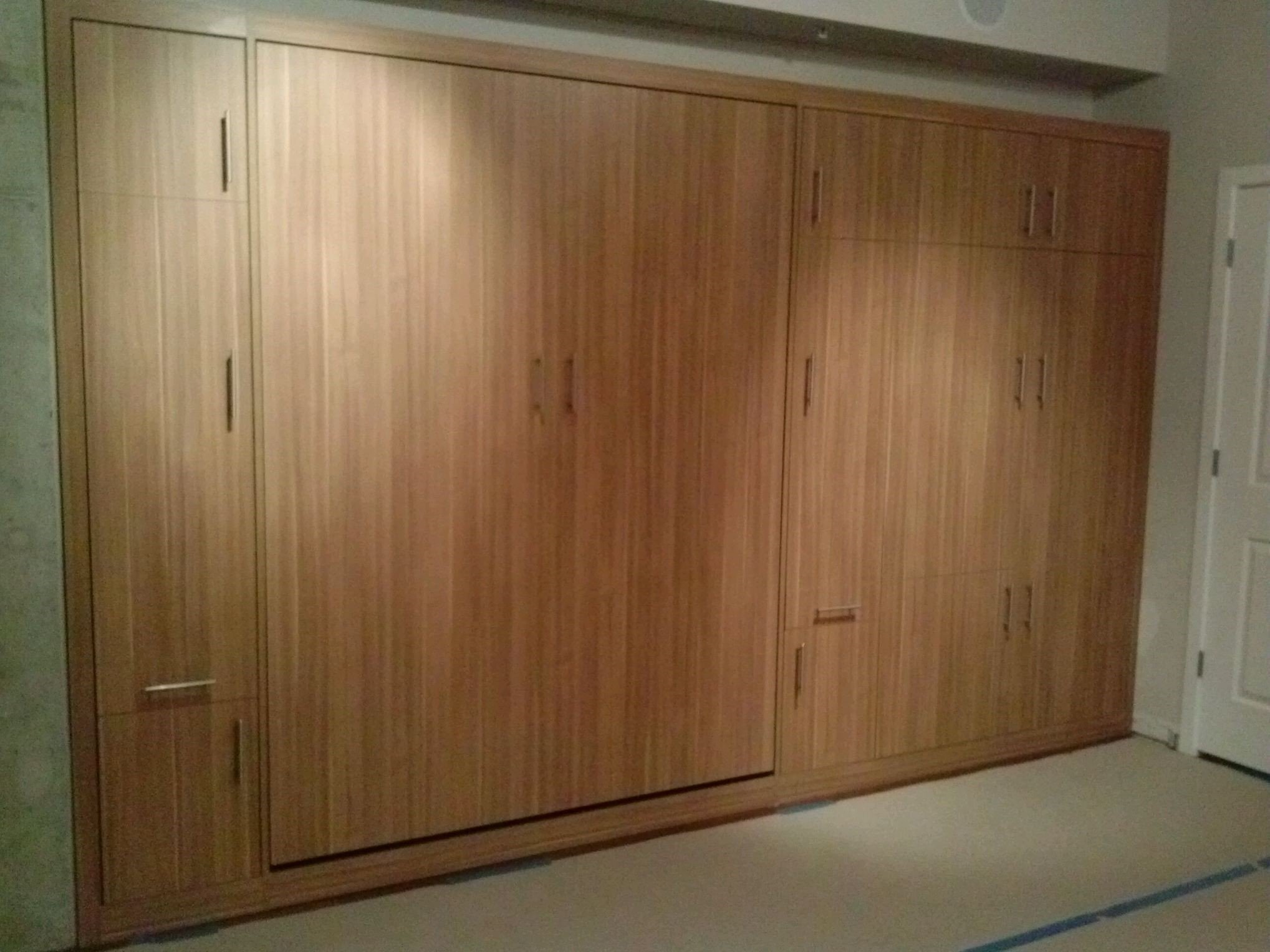 whole wall modern textured wall bed with deep side wardrobe closets
