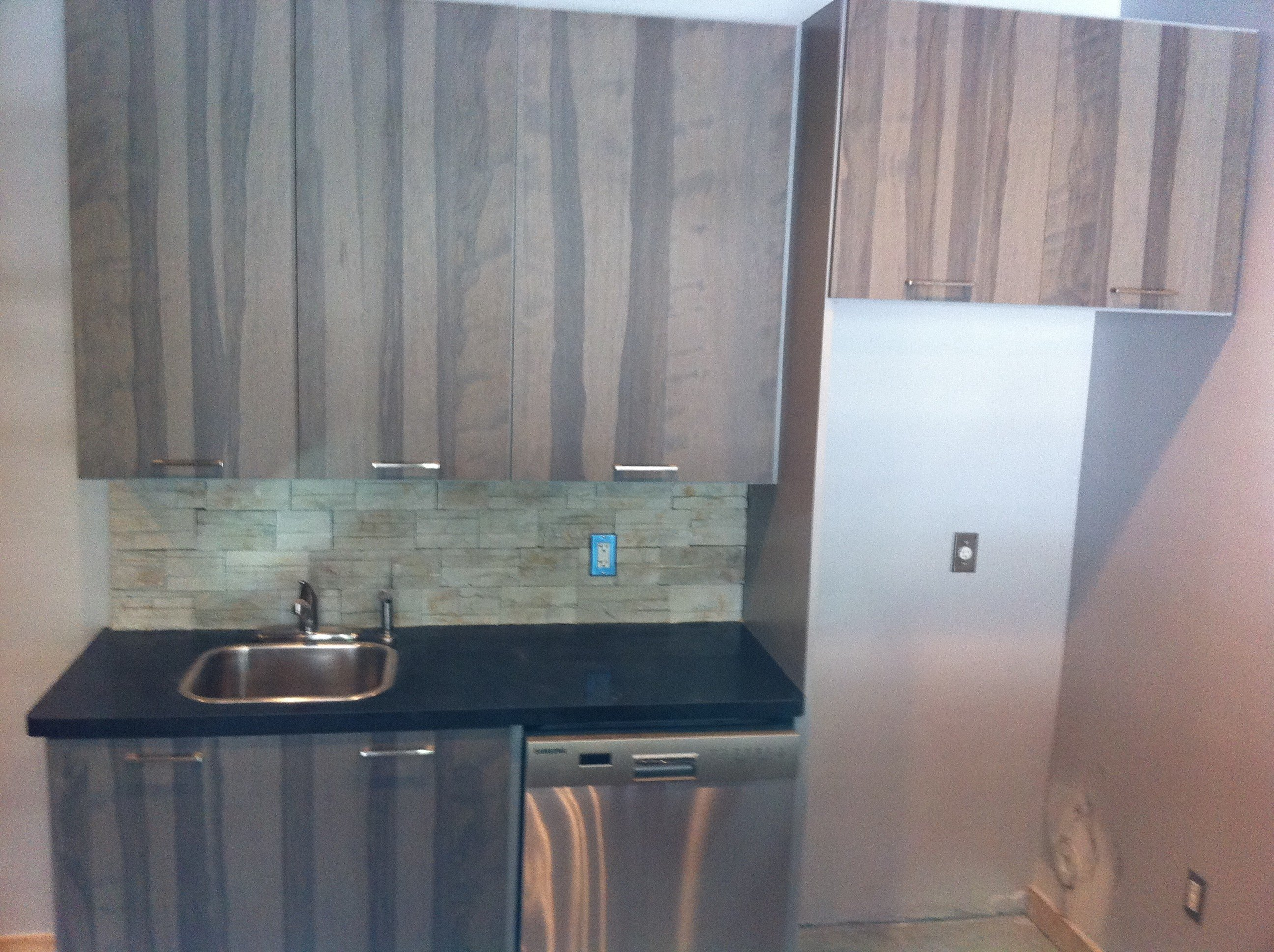 textured wood cabinets