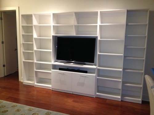 textured entertainment center with adjustable shelves