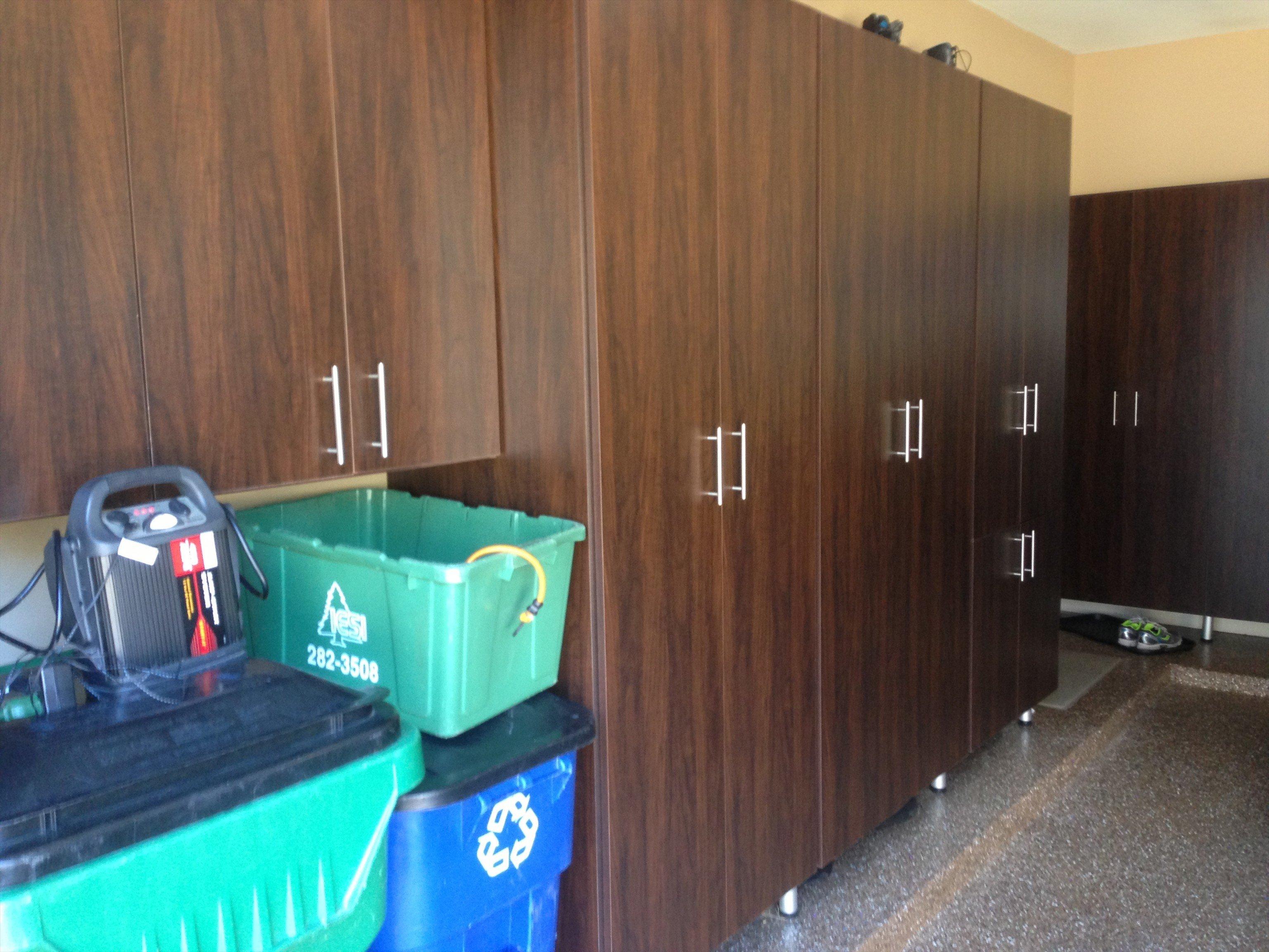 garage storage with trash area