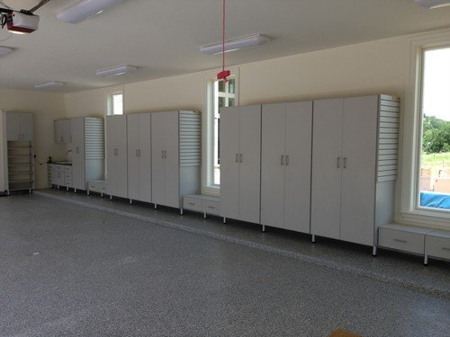 large wall-to-wall garage cabinet