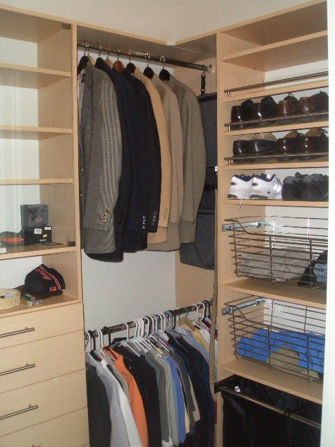 modern maple closet with pull out baskets