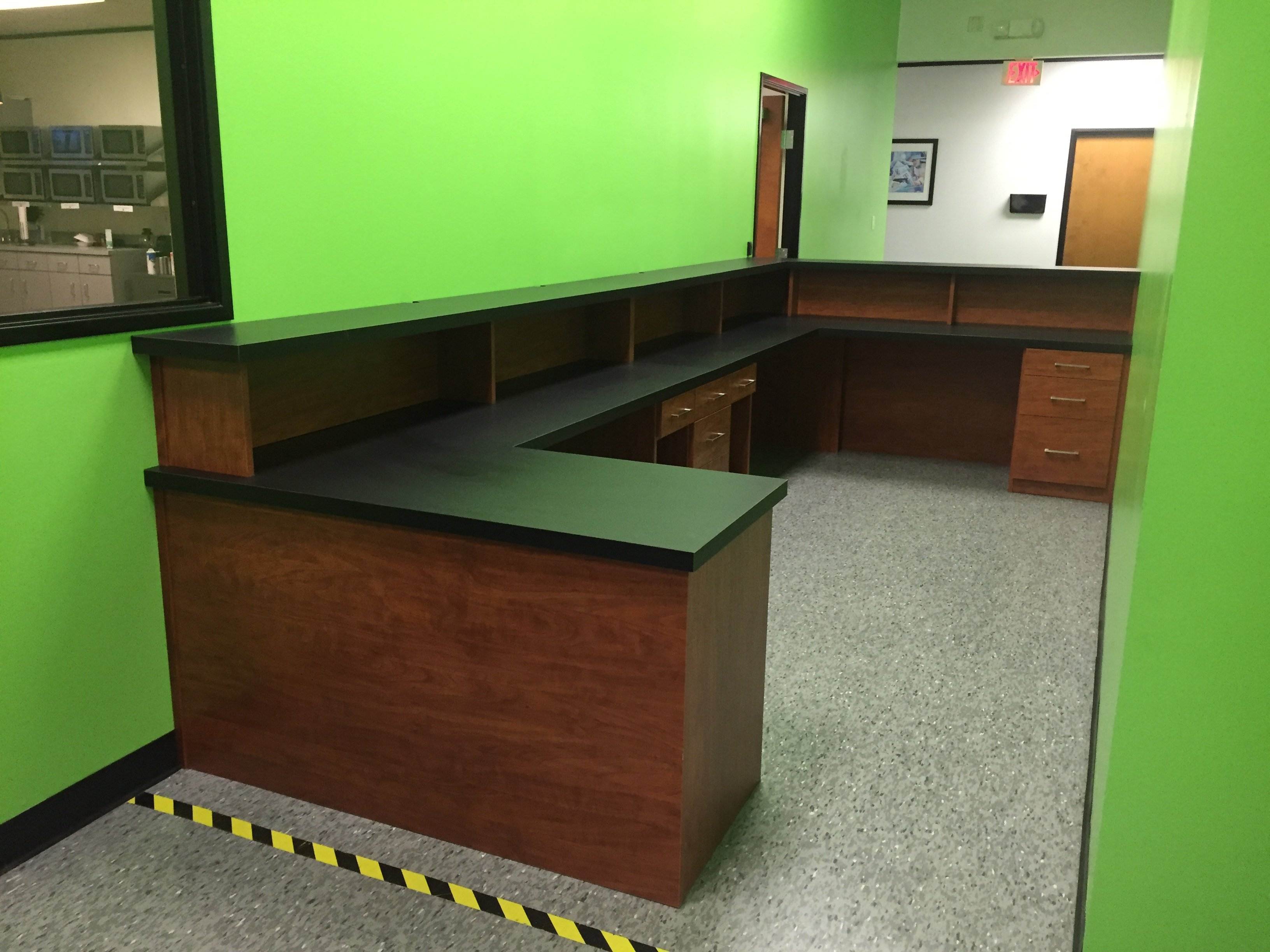 Commercial Security Station with shelving and drawers