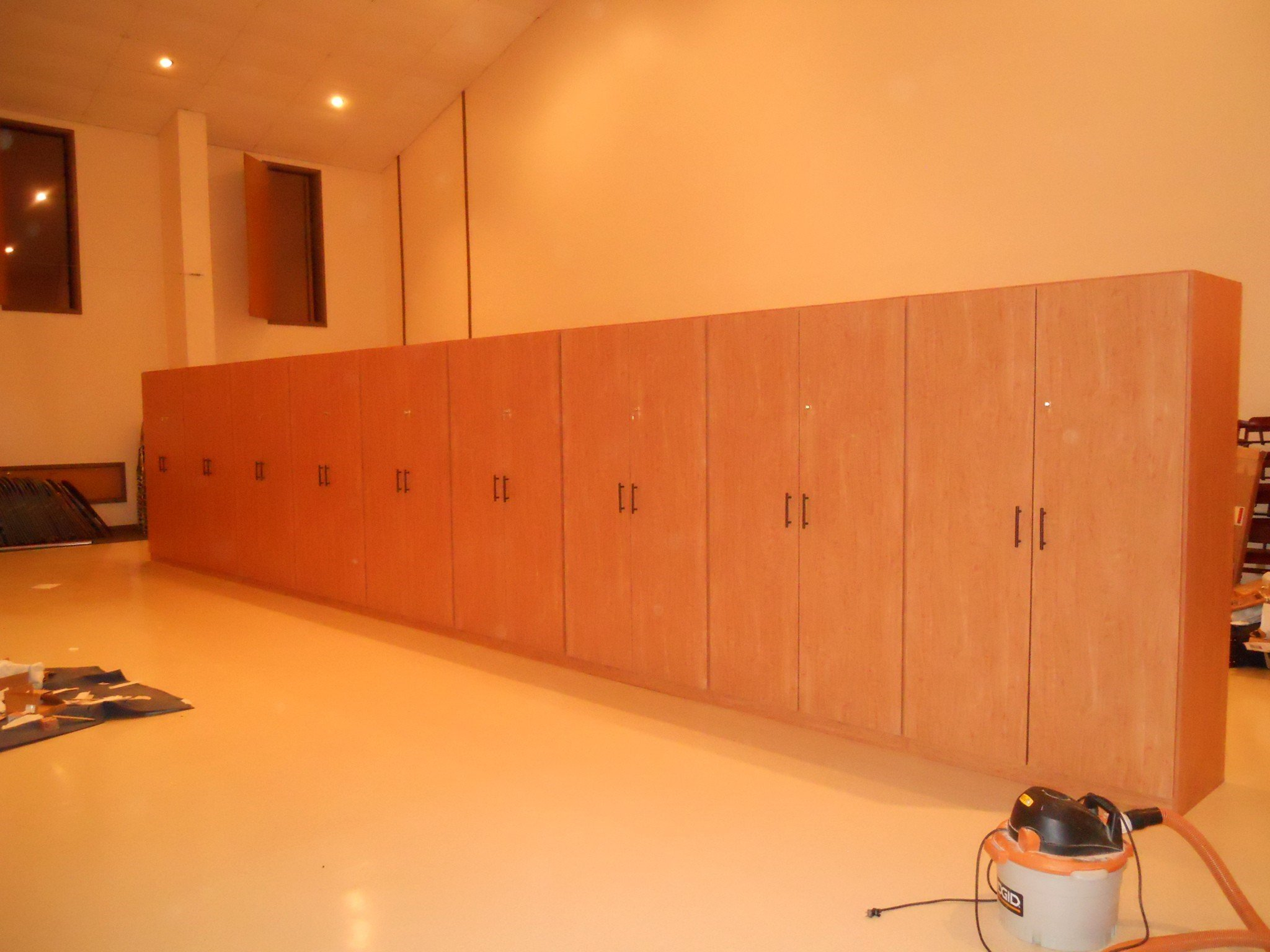 Commercial Wall of Storage Cabinets various colors and styles to choose from
