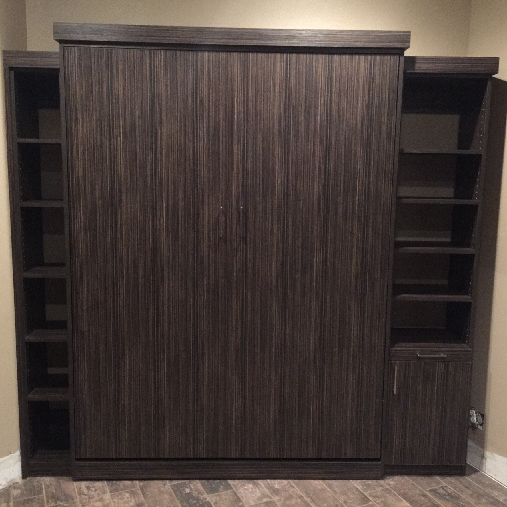 Textured Murphy Bed with side units