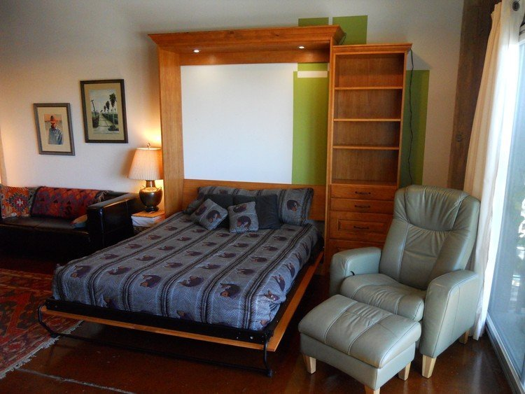 Pine Stain Bed with crown molding down position