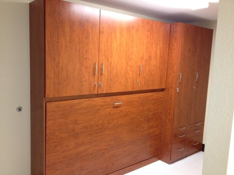 Commercial Horizontal Murphy Bed with upper storage