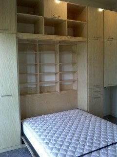 deep storage murphy bed with bookcases and side cabinets