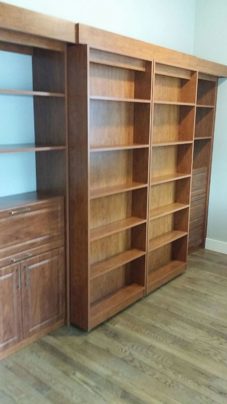 siding door library bed with side shelving