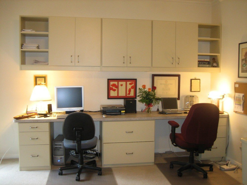 home office dual work station with upper cabinets