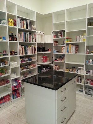 white storage pantry with island