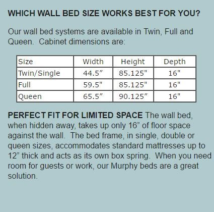 murphy bed size chart