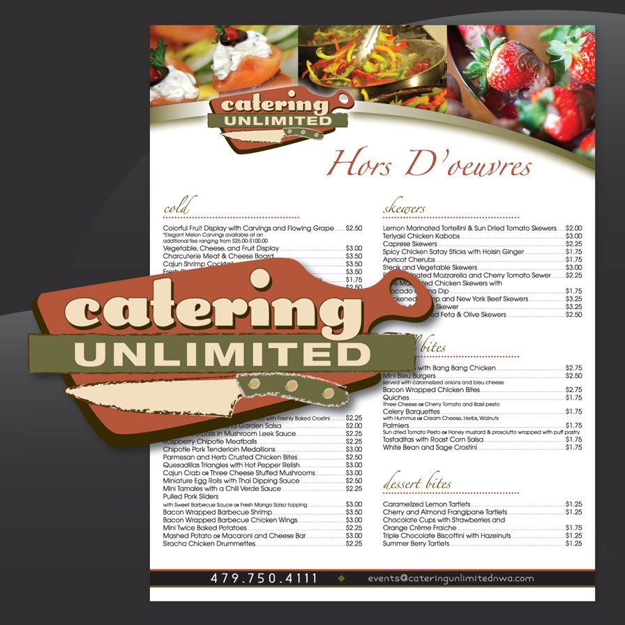 flyer menu, catering unlimited