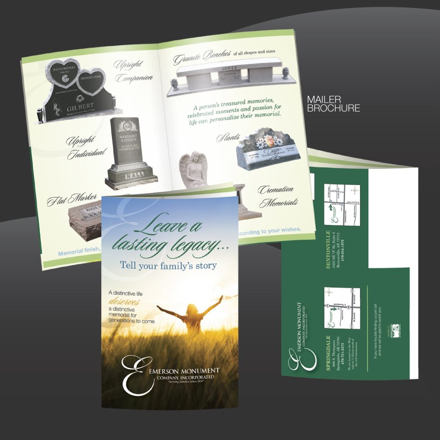mailer, brochure, design, pamplet, emerson monument