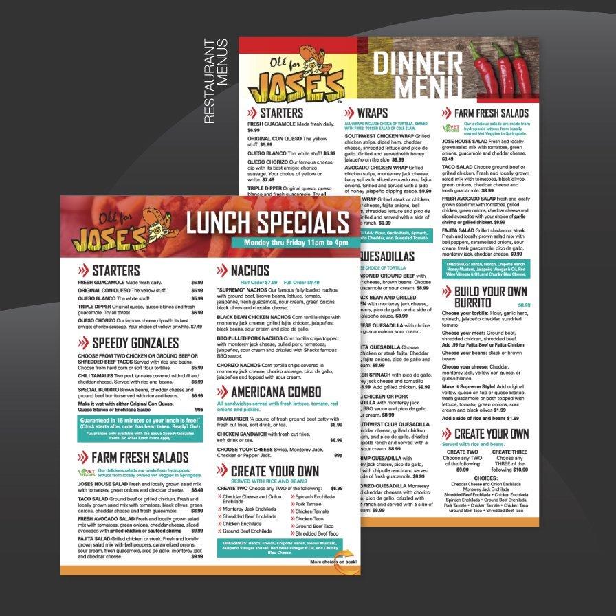 joses restaurant, menu design, layout, tontitown