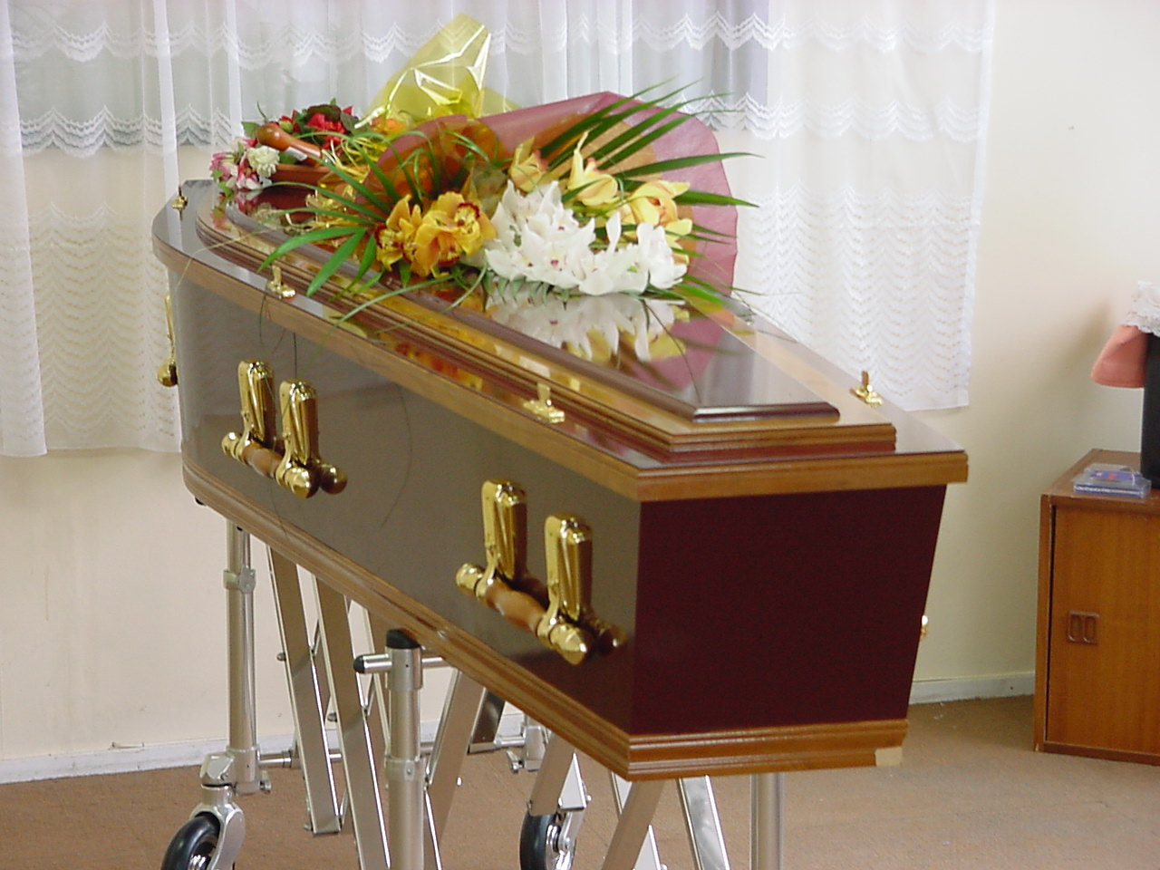 Decorated coffin in Palmerston North