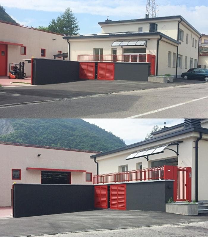 Rifacimento facciate (prima e dopo) presso edificio industriale in Via Azzeccagarbugli - (LC)