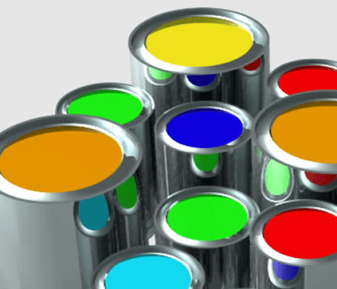 Nove battelli di verniciatura di diverse dimensioni e colori
