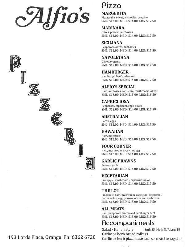 Alfios pizzeria menu front