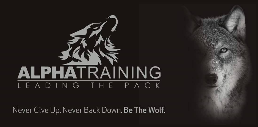 Alpha Training Logo with an Alpha Wolf