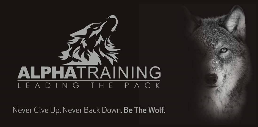Alpha Training Logo with an Alpha Wolf