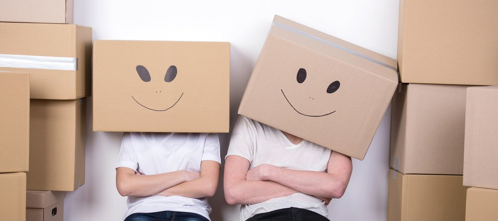 carton boxes with smiley on them