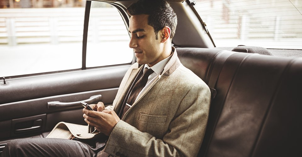 businessman in cab