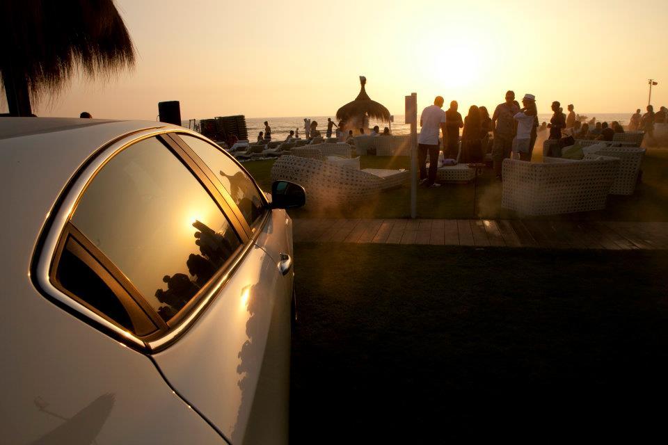 Giulietta Alfa Romeo con sfondo tramonto Fregene
