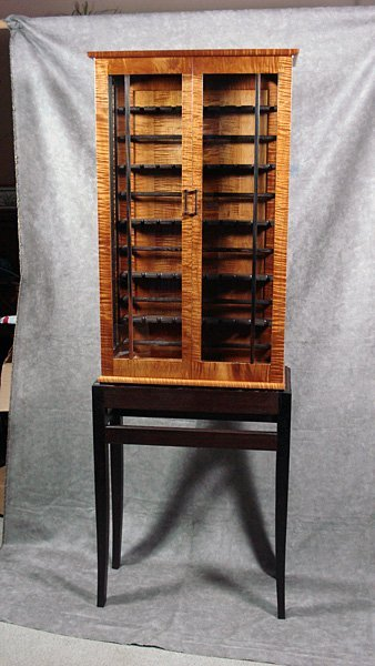 Cabinet Roasted Curly Maple Display Cabinet