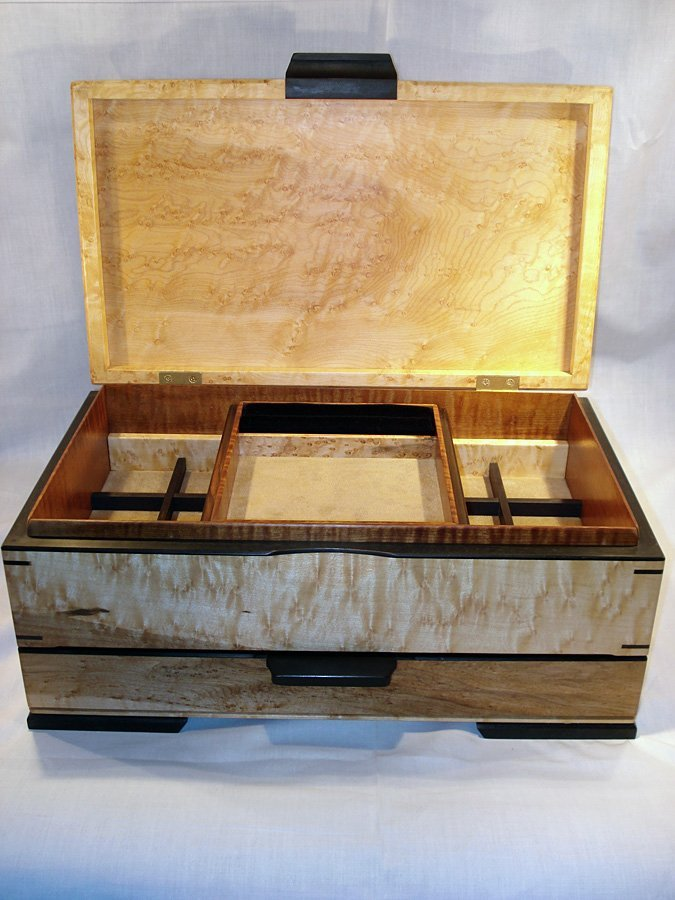 Birdseye maple jewelry box with lift out tray
