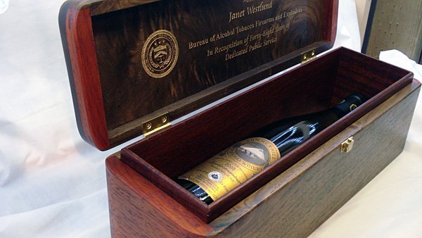 Custom wine box with engraving