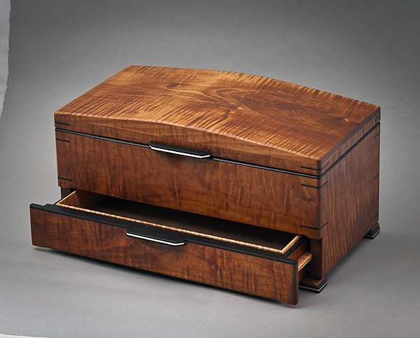 Roasted Curly Maple jewelry box with ebony handle