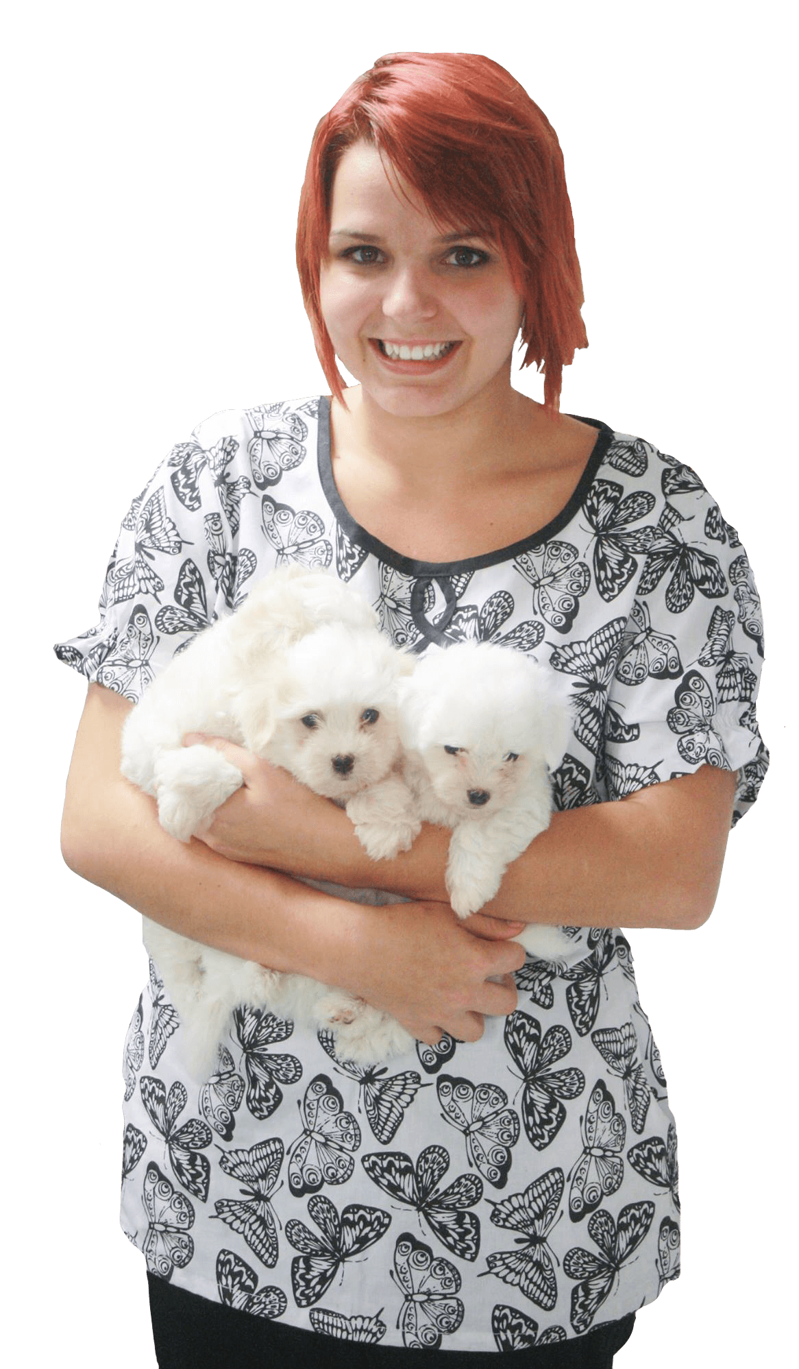 Girl holding puppies