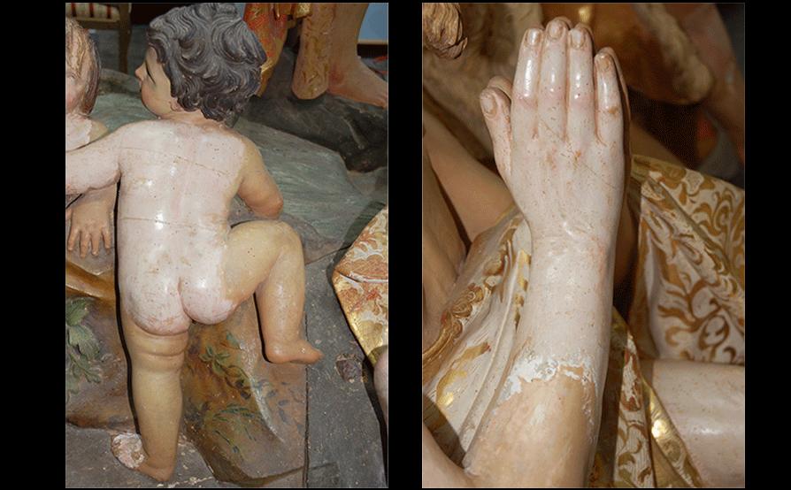 Battesimo di Cristo - Sassello - Tasselli di pulitura