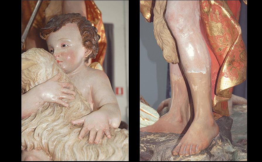 Battesimo di Cristo - Sassello - Dopo la pulitura e le integrazioni plastiche