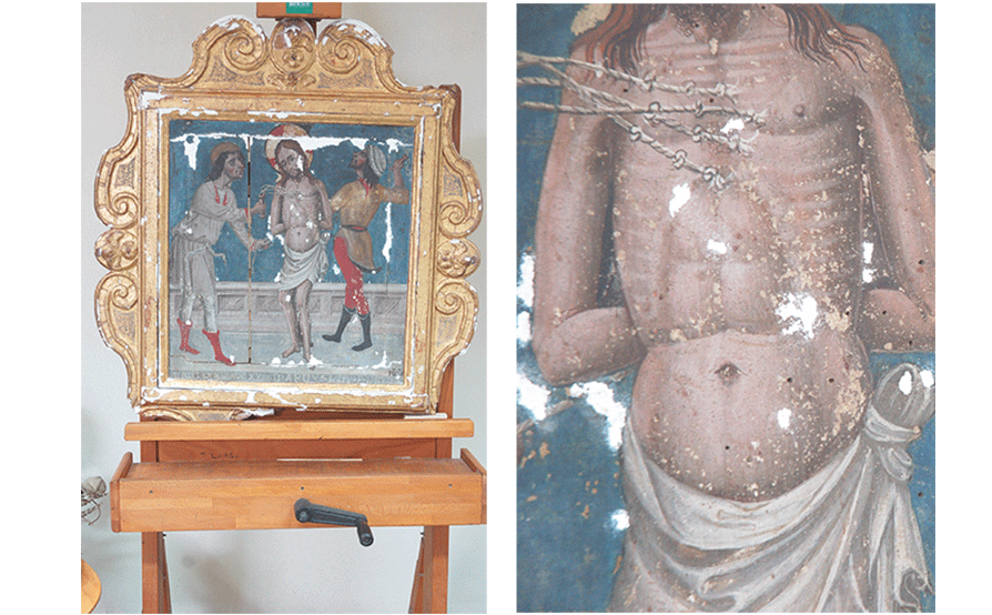 Flagellazione di Cristo - Oratorio di San Dalmazio - Lavagnola - Savona - Durante la stuccatura
